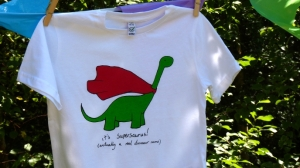 Supersaurus t-shirt for Mimi and Will by Neil Slorance
