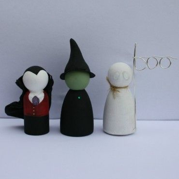 Handpainted Wooden Halloween Peg Doll by Lottie Lollipop